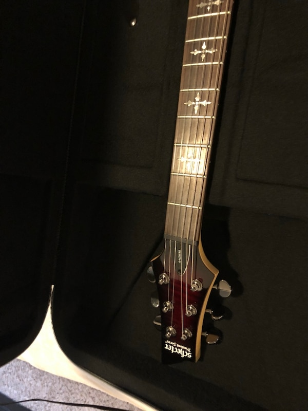 0214a72340 Used Schecter Electric Guitar with accessories for sale in Houston - letgo