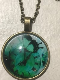 Steampunk clock/butterfly charm necklace  Aliquippa, 15001