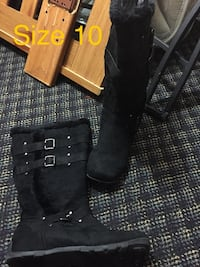 """""""ID Required"""" black suede boots"""