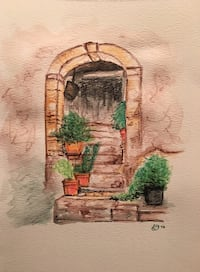 Italian Door with Plants Watercolour Painting Print  Vaughan, L6A 0R6