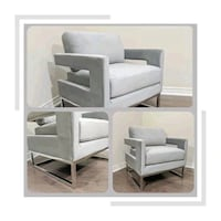 New Gray And Chrome Accent Chair