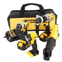 DEWALT 20-VOLT MAX LITHIUM-ION CORDLESS COMBO KIT (4-TOOL) WITH (2) BATTERIES 3AH, CHARGER AND CONTRACTOR BAG Sugar Land