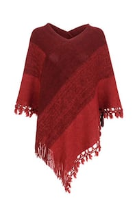 Red Striped Shawl Wrap Soft Warm Knit Pullover Poncho Sweater  Brampton, L7A 3M2
