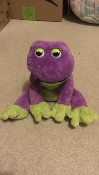 purple and green frog plush toy