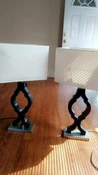 two black wooden table lamp bases with rectangular lampshades Detroit, 48219