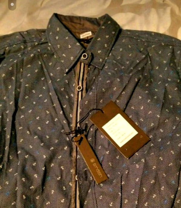 Brand new black and brown button-up shirt 99654cf1-1f25-44be-aab7-858f88ec7e7e