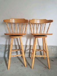 two brown wooden bar stools Vancouver, V5M 2B7