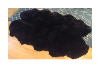 Premium Wool Blend Sheepskin Rug - 4 Pelt Longwool Black Fur (2 Rugs Avail)  Santa Monica