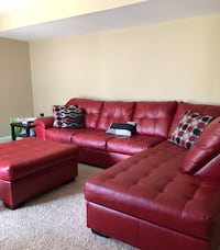 Red Leather Right Sectional with A Ottoman & Extra Right Sectional Seat Haymarket, 20169