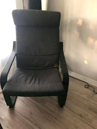 black wooden framed gray padded armchair Toronto, M9C 4B4