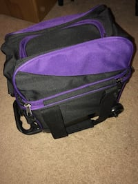 Purple and black bowling bag, separate place for shoes on top