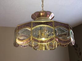 Brass Crystal Chandelier w Rose Accents 30.00