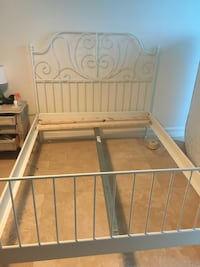 IKEA Leirvik white metal queen bed frame