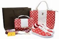 two red-and-white Louis Vuitton Monogram Canvas shoulder bag, handbag, and pair of sneaker
