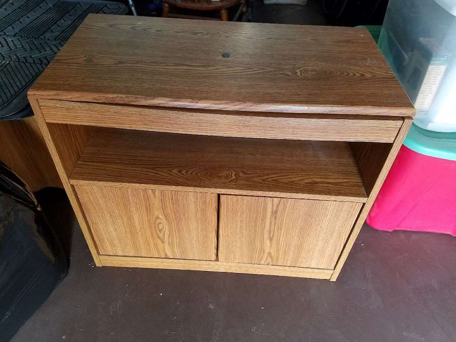 brown wooden drawer with cabinet