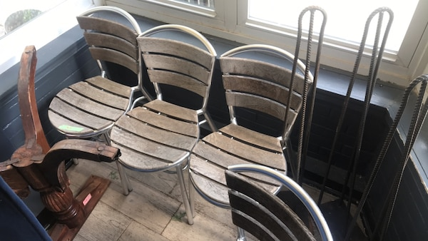 Teak and metal chairs 4 each