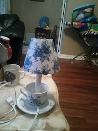 white and blue ceramic base table lamp with lampshade Grand Prairie, 75052
