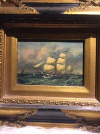 Small James Webb ship on stormy sea framed in Rococo style