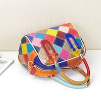 CARLIO LIFU TRAPEZOIDAL PLAID LEATHER COLORFUL HANDBAG