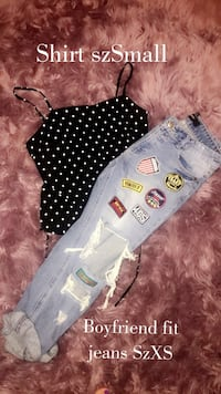 white and black polka dot shirt and jeans  McAllen, 78501