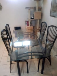 rectangular glass top table with four chairs dinin Toronto, M9P 2S6