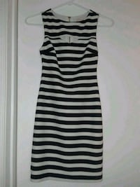 Striped xs dress with cutout detail and zipper back.