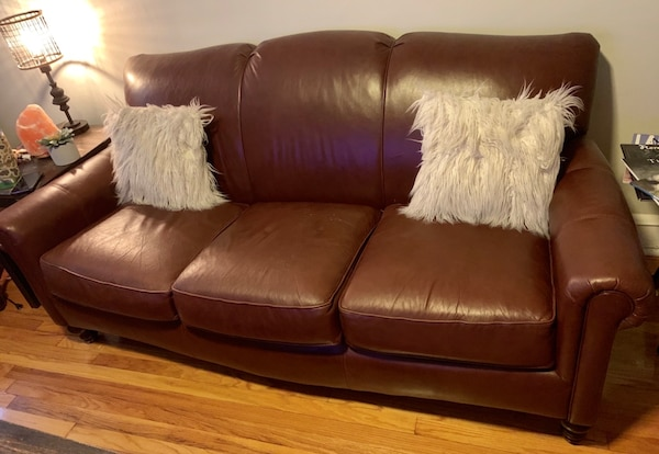 3-Seat Brown Leather Couch