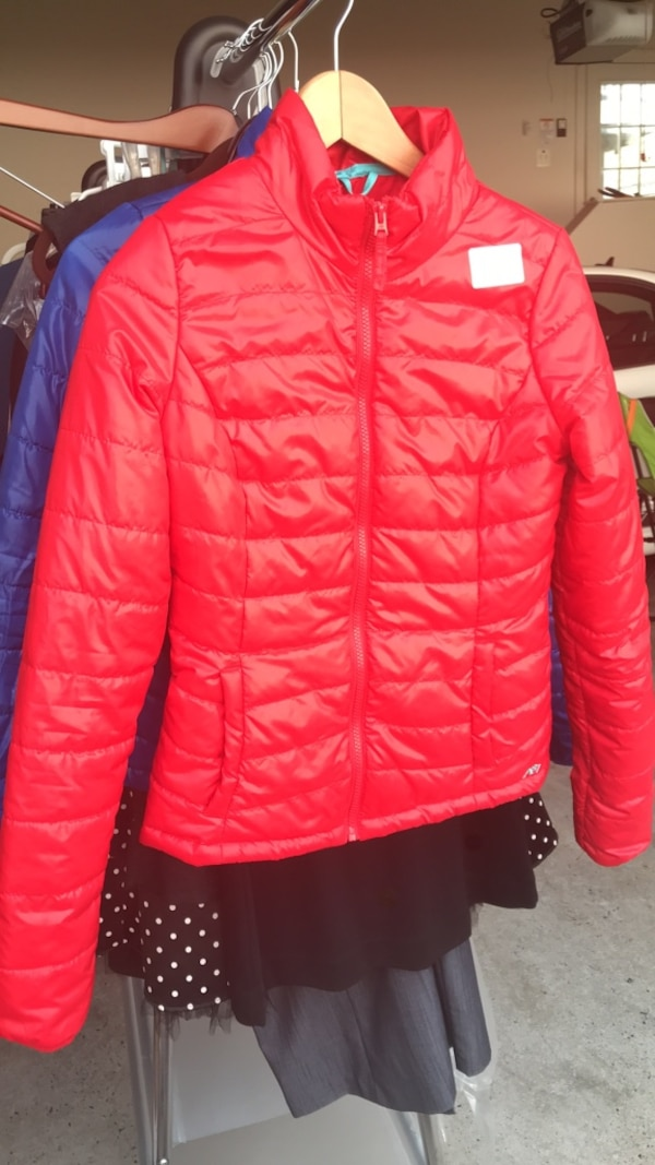 red zip-up jacket