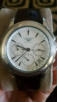 round silver chronograph watch with black leather  Perris, 92571