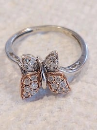 14k White/Rose Gold Two-tone Butterfly Diamond Engagement Ring Frederick