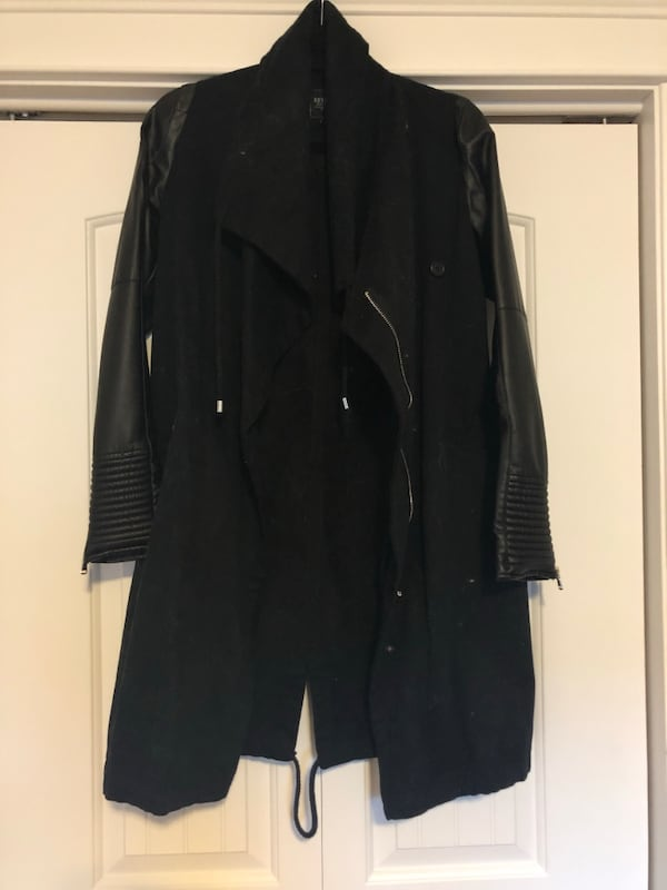 Jacket with Faux Leather Sleeves 0