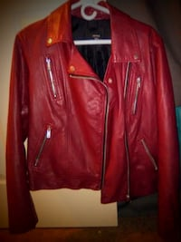 red leather zip-up jacket forever 21 385 mi