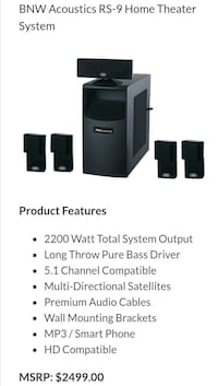 (Brand New) BNW Acoustics RS-9 Home Theater System Lawrenceville, 30043