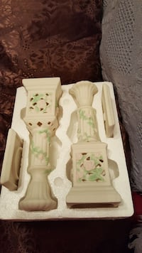 $2 Brand new white,green candle holders Westminster, 21158