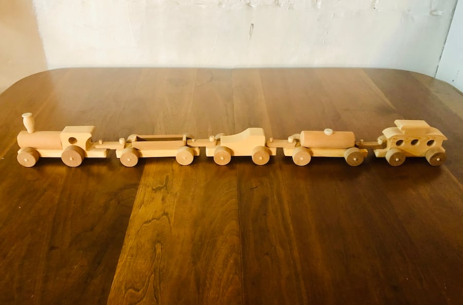 Vintage Handcrafted Wooden Toy Train Set (1970's), Only 2 Sets Left!  7176dd41-61b4-4a96-8a1c-08f3197d8640