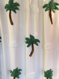 Bathroom Shower Curtain:  Unique White Cotton with Yarn Palm Trees and Clouds Design  Lansdowne