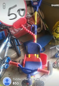 toddler's red and blue trike