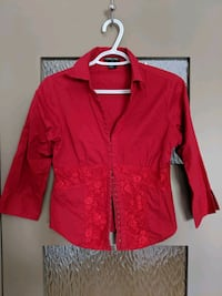 Women's red blouse with lace  size small Calgary, T2E 0B4