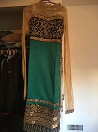 Beige, black, and green floral illusion-sleeved illusion-neckline INDIAN pajami suit brand new Delta, V4C 1J6