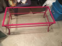 Pink metal framed glass top table Augusta, 30909