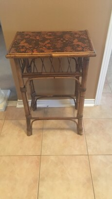 brown bamboo side table