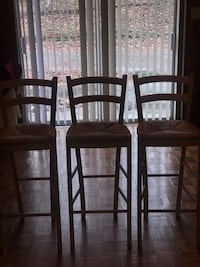 Three wood/wicker bar chairs. Great Condition  Marietta, 30008