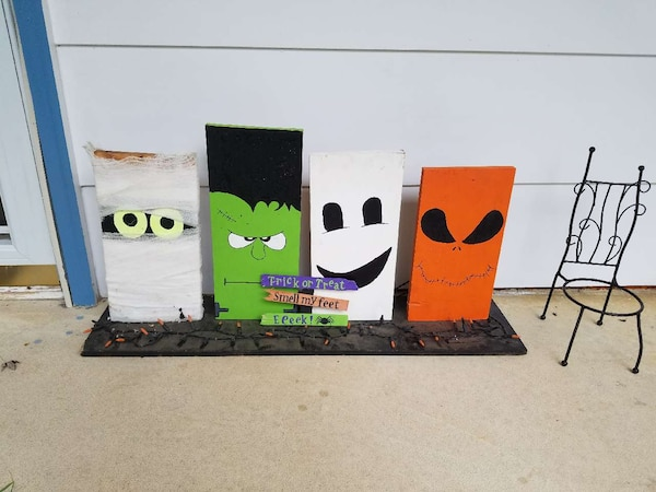 four trick or treat panel paintings