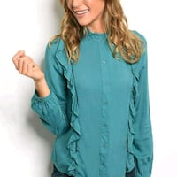 women's teal button-up jacket Lamar, 29069