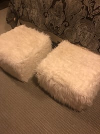 White and gray fur textile footstools