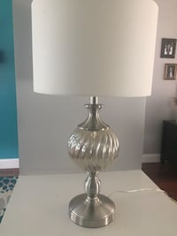 Silver-colored base white shade table lamp Chelmsford, 01824