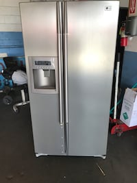 stainless steel side-by-side refrigerator with dispenser Bellflower, 90706