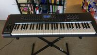 black and white electronic keyboard with X stand
