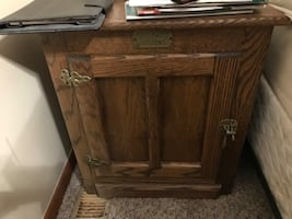 Antique icebox side table