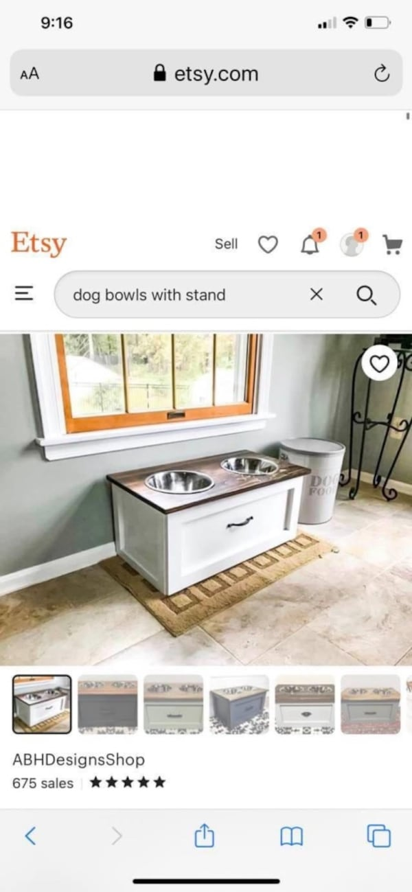 Large dog bowls and stand with drawer 4370584d-2b8c-4ef9-88eb-1d022af7ae93